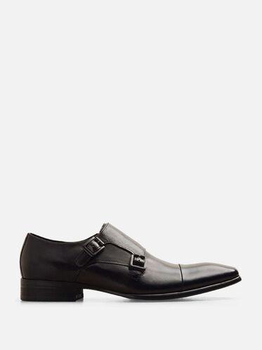 Regal Bearing Leather Monk Strap Dress Shoe, BLACK