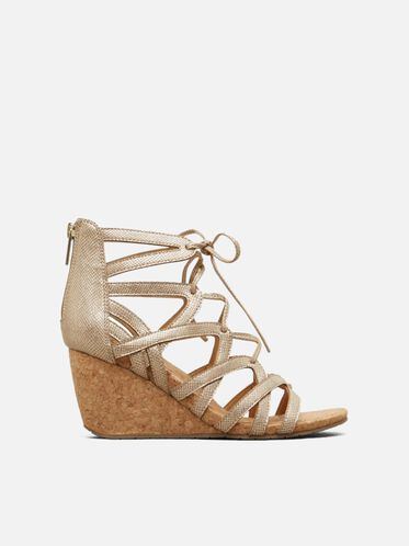 Cake Pop Lace-Up Wedge, SOFT GOLD