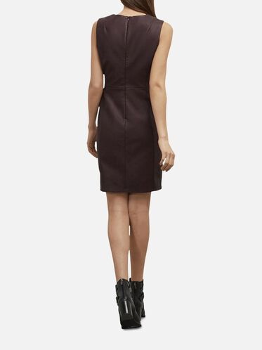 Sleeveless Faux Wrap Dress, CABERNET, hi-res