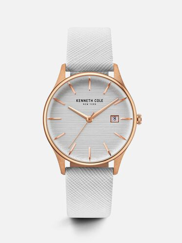 White Leather Strap Round Watch, NO COLOR