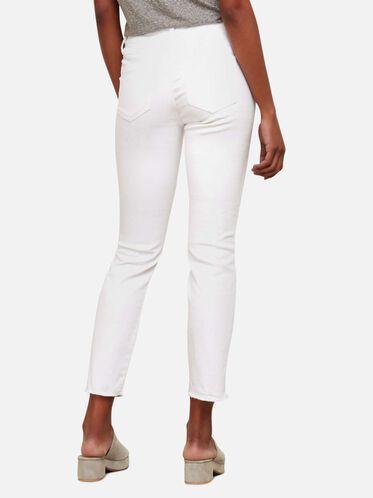 Raw Edge Cropped Denim Skinny Jean, WHITE