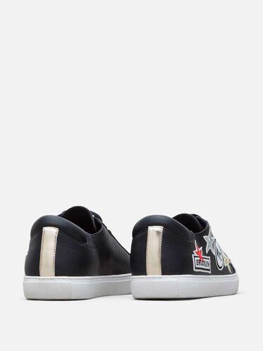 Women's Kam Leather NYC Sneaker, BLACK