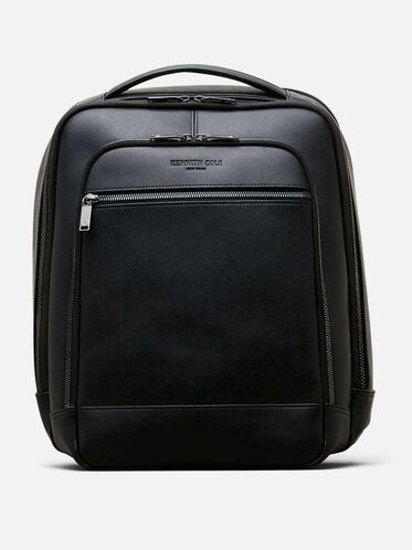 Saffiano Leather Double Compartment Backpack, BLACK
