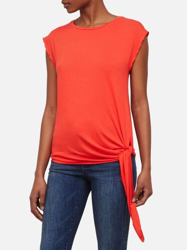 Side Knot Sleeveless Top, TOMATO