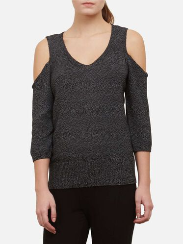 Cold Shoulder Sweater, BLACK-WHITE