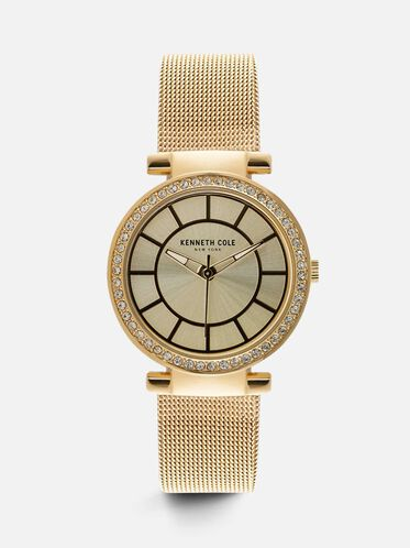 Gold-Tone Mesh Round Watch, NO COLOR