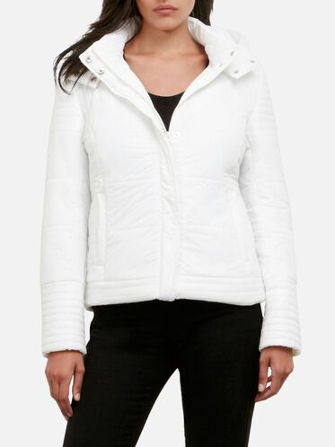 Puffer Jacket With Removable Hood, WNTR WHT