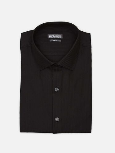 Long Sleeve Slim Fit Dress Shirt, BLACK