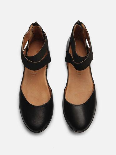 Nyssa Leather Platform Zip Up Flat, BLACK