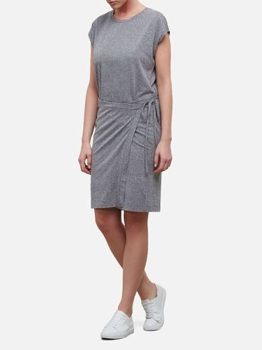 Side Tie Wrap Dress, GREY HEATHER