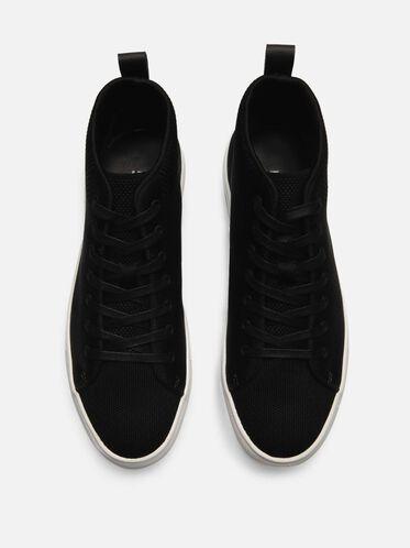 High Top Knit Sneaker, BLACK
