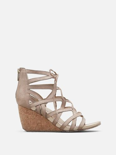 Cake Pop Lace-Up Wedge, ALMOND