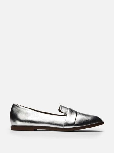 Glide Slide Metallic Loafer, SILVER