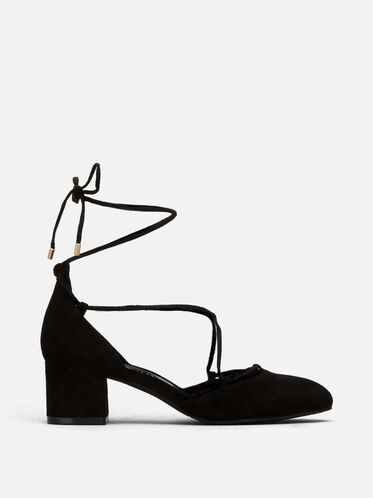 Toniann Suede Block Heel, BLACK