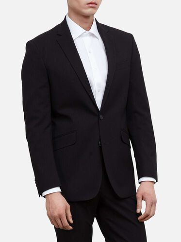 Pinstripe Suit Jacket, 002BLACK