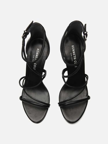 Bryanna Leather Strappy Heel, BLACK