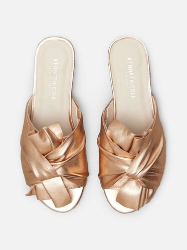 Violet Metallic Leather Sandal, ROSE GOLD