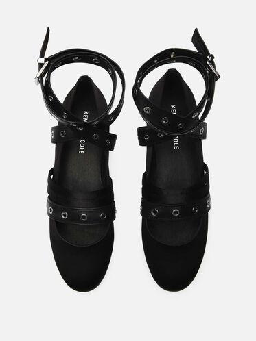 Wade Ankle-Wrap Flat, BLACK/BLACK