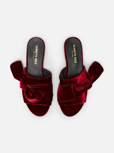 Candice Velvet Slide Sandals, BORDEAUX