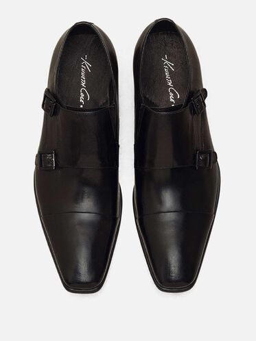 Regal Bearing Leather Monk Strap Dress Shoe, BLACK, hi-res