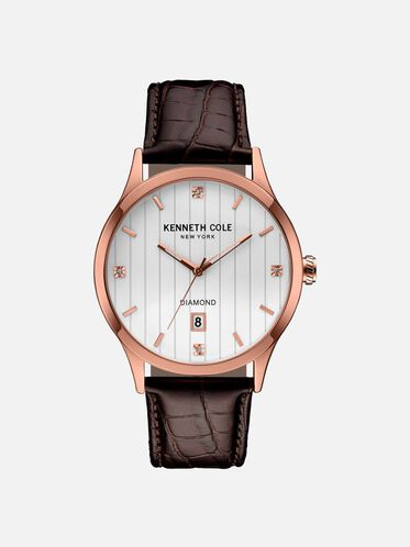 Rose Gold-Tone Watch With Croco Embossed Leather Strap, NO COLOR, hi-res