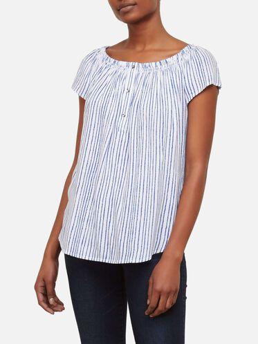 Off The Shoulder Smocked Striped Top, INDIGO STRP-