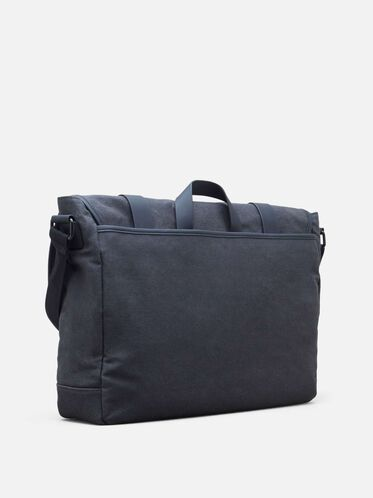 Single Gusset Canvas Messenger Bag, CHARCOAL