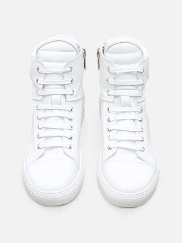 Double Header High Top Sneaker, WHITE