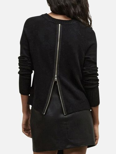 Back Zipper Pullover Sweater, BLK/EVNG BLU, hi-res