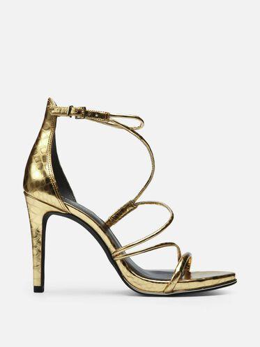 Bryanna Metallic Print Strappy Heel, GOLD