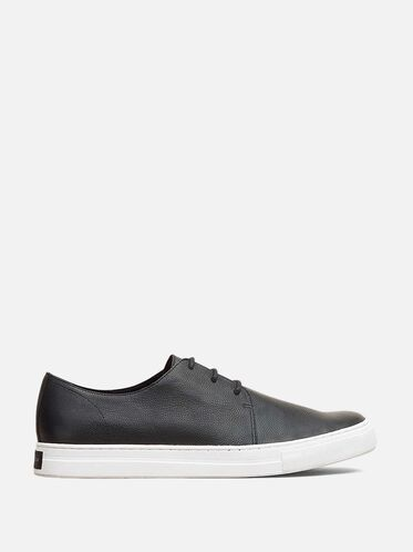 Double Shuffle Pebbled Leather Sneaker, BLACK