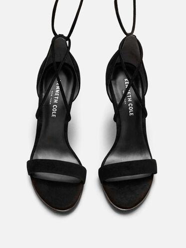 Berry Suede Ankle-Wrap Heel, BLACK
