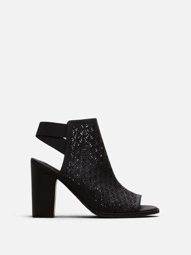 Kay Fly Laser-Cut Stacked Heel, BLACK