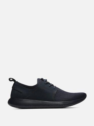 Nubuck Low Top Knit Sneaker, NAVY