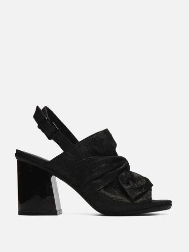 Reach Beyond Brocade Open-Toe Block Heel, BLACK