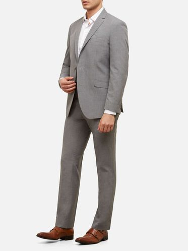 Slim-Fit Nested Mini Houndstooth Suit with Finished Hem, 050LIGHT G