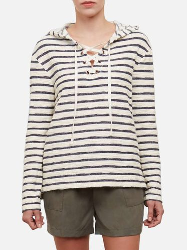 French Terry Lace-Up Hoodie, BAR STRIPE