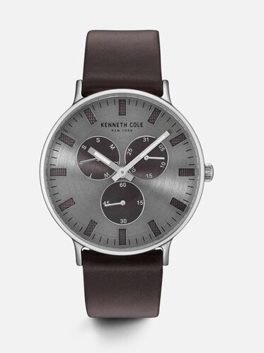 Brown Leather Round Multi-Function Watch, NO COLOR