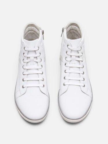 Crown Worthy High-Top Sneaker, WHITE