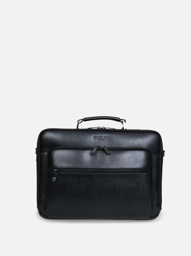 Saffiano Leather Single Gusset Computer Case, BLACK, hi-res