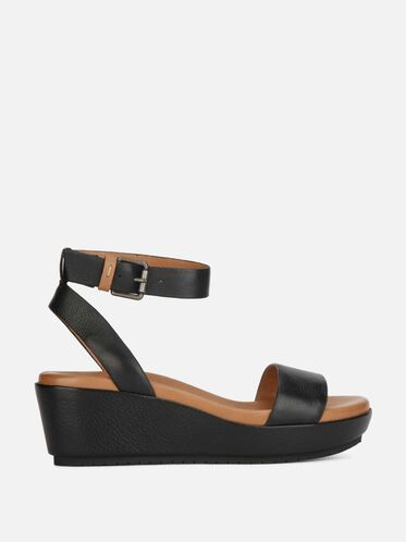 Morrie Leather Wedge Sandal, BLACK