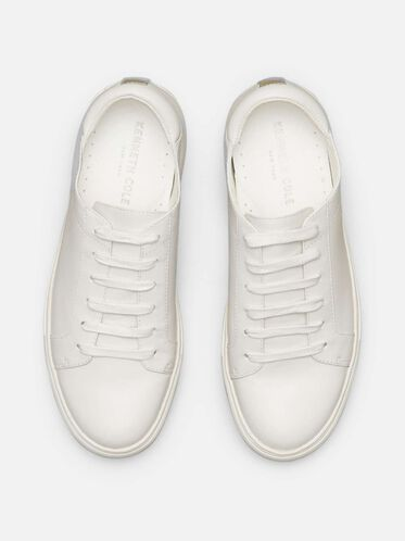 Abbey Leather Platform Sneaker, WHITE