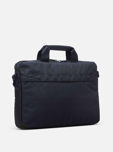 Pebbled Faux Leather Trim Computer Case, BLACK