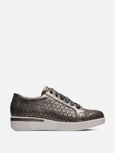 Haddie 3 Laser Cut Metallic Sneaker, PEWTER