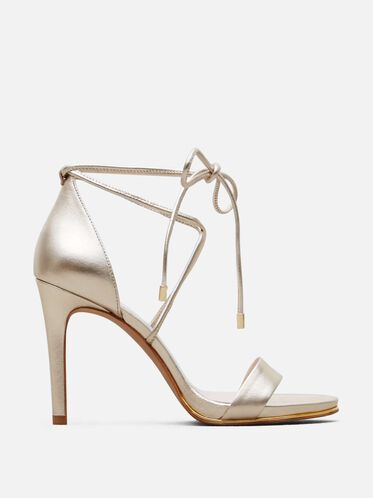 Berry Leather Ankle-Wrap Heel, SOFT GOLD