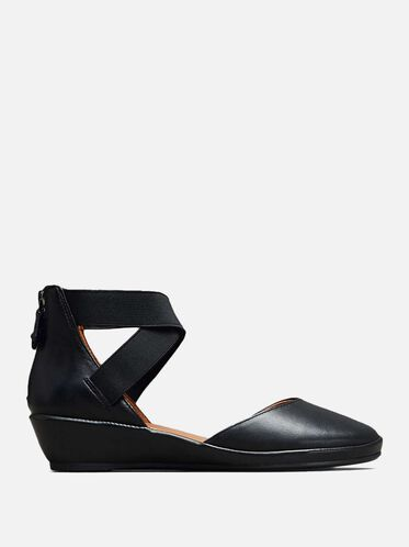 NOA LEATHER ANKLE-STRAP WEDGE, BLACK