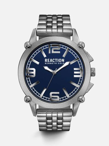 Blue-Faced Stainless Steel Watch, NO COLOR