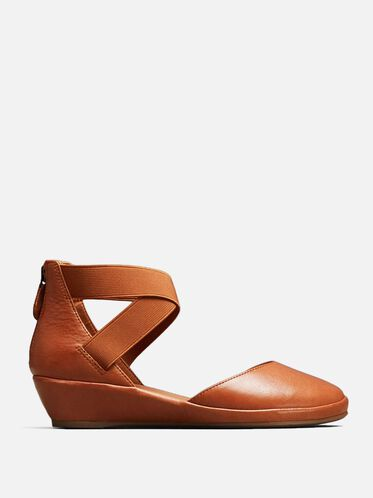 NOA LEATHER ANKLE-STRAP WEDGE, MID BROWN, hi-res