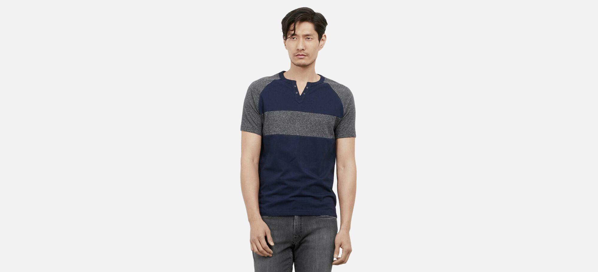 Short-Sleeve Grommet Striped Henley