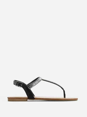 Just a Gal T-Strap Sandal, BLACK